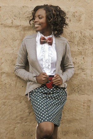 grey sweater - ruffled blouse - green polka dot skirt - red belt