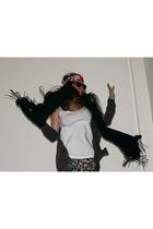 black Fendi scarf - hm t-shirt - Top Shop leggings - Zara cardigan