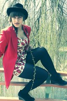 ivory dress - black hat - red jacket