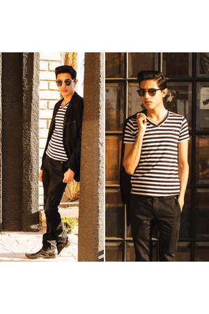black c&a blazer - black stripes c&a shirt