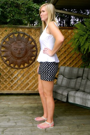 white peplum New York & Company top - navy polka dots ann taylor shorts