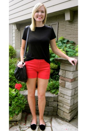 red Old Navy shorts - black Ardene shoes - black leather details Forever 21 top