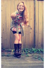 Salvation-army-boots-butterfly-shift-vintage-dress-striped-goodwill-sweater