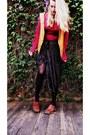 Hot-pink-knit-goodwill-sweater-black-sparkles-diy-skirt