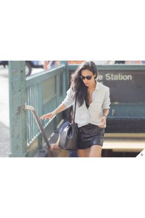 Mansur Gavriel bag - madewell shirt - Aqua skirt