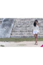 white linen Theory shorts - pinkyotto sweater - Yves Saint Laurent sunglasses
