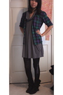 Gray-dress-black-tights-brown-target-boots-purple-vintage-shirt
