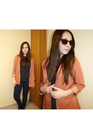 H&M blazer - H&M sunglasses - dotted H&M blouse - asos ring - navy H&M pants