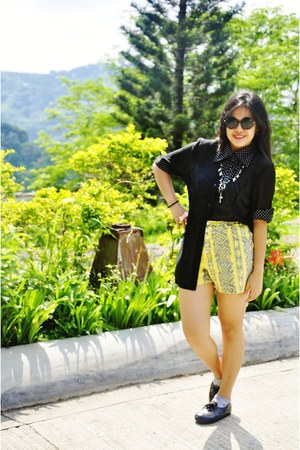 yellow Ferocetti shorts - black Ferocetti top - black cross layered Quirypedia n