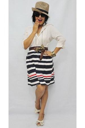 beige cotton Ferocetti top - navy nautical cotton Ferocetti skirt - beige ribbon