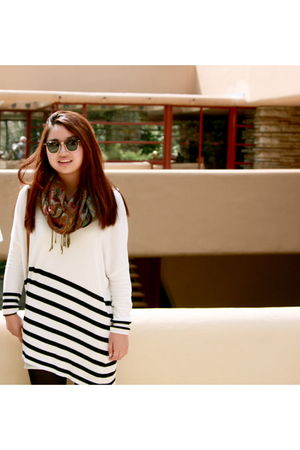 white H&M dress - brown Pashmina scarf - brown Ray Ban sunglasses