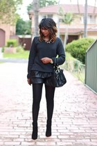 black cowboy Zara boots - gray bubble-knit Table 8 sweater