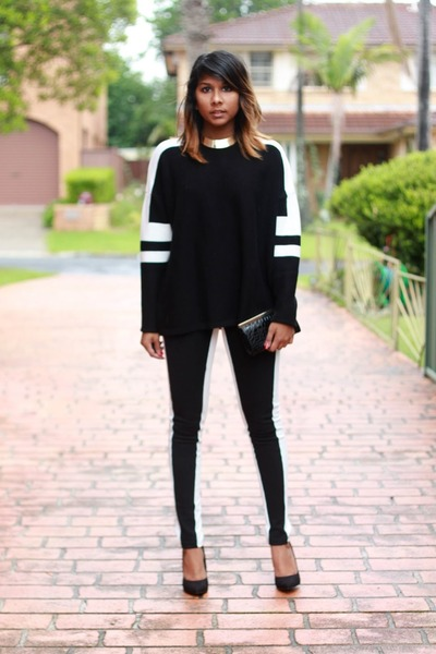 black two tone Zara sweater - white two tone Style by Stories leggings