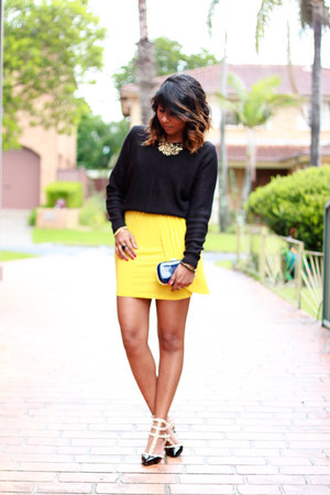 dark gray rockstud Valentino heels - yellow yellow jersey asos dress