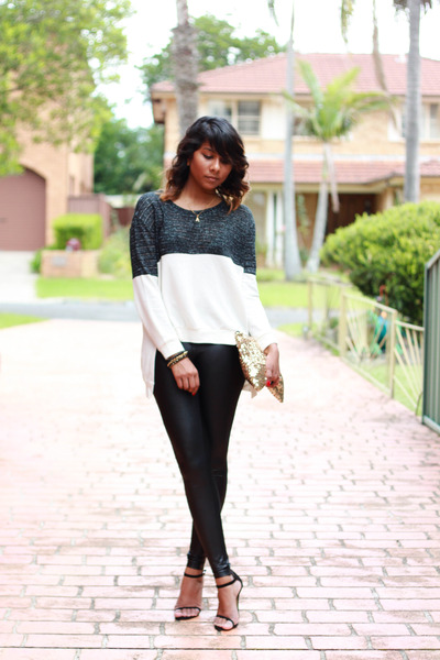 black wet-look Ambra leggings - eggshell gold sequin Etsy purse