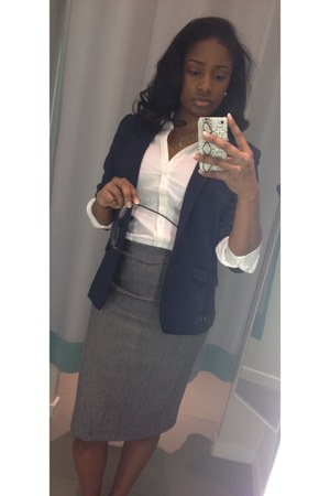 navy H&M blazer - charcoal gray Express skirt