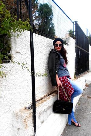 vintage blouse - Zara jeans - Zara jacket - Zara shirt - Zara bag