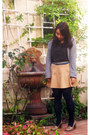 Dark-gray-charlotte-russe-shirt-navy-gap-tights-teal-belt-mustard-skirt