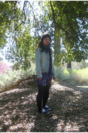 Forever 21 dress - Aeropostale jacket - Forever 21 tights - Target sneakers