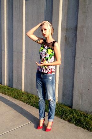Prabal Gurung top - boyfriend jeans H&M jeans - Zara heels