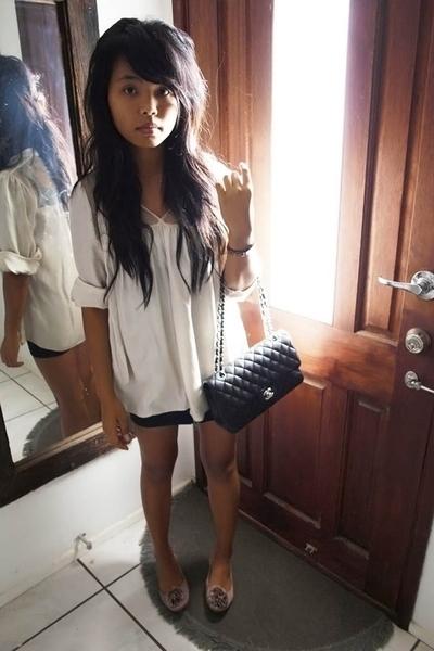Seduce shirt - Chanel lambskin 255 purse - Insight skirt - Mollini shoes