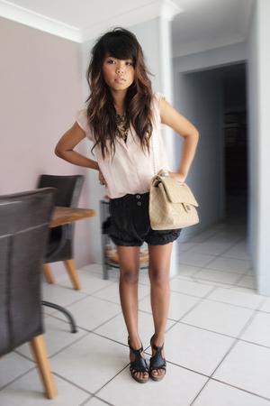 pink cotton on shirt - black Marcs pants - black Mollini shoes - beige Chanel ac