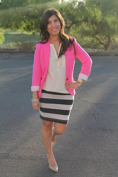 Hot Pink Cotton H&m Blazer