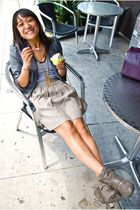 gray blazer - gray shoes - beige skirt - purple accessories - white shirt