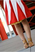 red skirt - yellow blouse - beige shoes - yellow