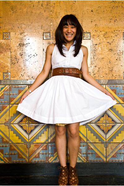 white dress - brown belt - brown shoes - white