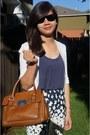 Jessica-simpson-dress-brown-michael-kors-bag-black-ray-ban-sunglasses