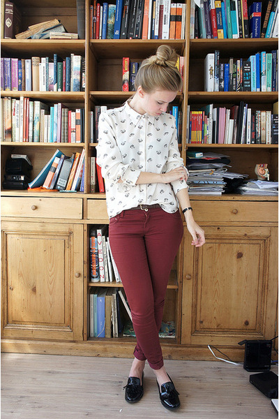 white Zara blouse - crimson Primark jeans - black Zara loafers