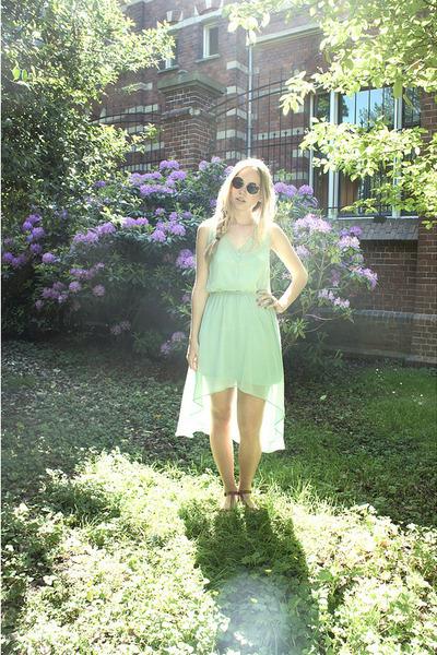 lime green Pull & Bear dress - brown H&M sunglasses - dark brown H&M sandals