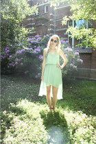 lime green Pull & Bear dress - brown H&M sunglasses - dark brown H&M sandals
