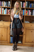 vintage leather high waisted shorts
