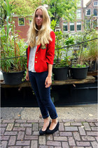 white H&M blouse - navy H&M jeans - red vintage blazer - gray H&M bag