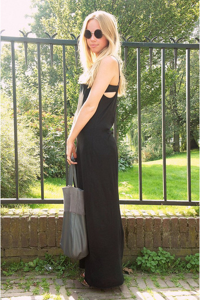 black maxi GINA TRICOT dress - gray H&M bag - dark brown H&M sunglasses