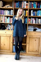 black H&M wedges - navy Sparkle & Fade jumper - silver Monki necklace