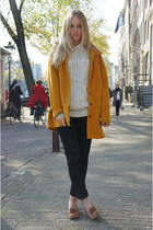 heather gray vintage jumper - mustard vintage coat - black Monki jeans