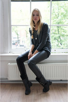 black vintage boots - dark gray H&M sweater - black fake leather Zara pants