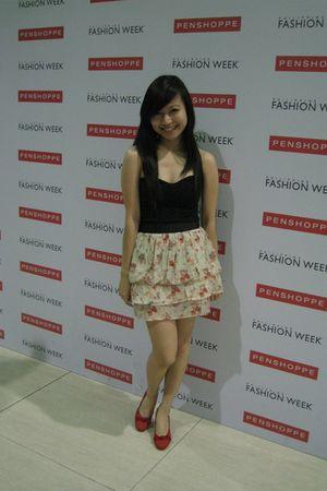 black landmark top - beige Topshop skirt - red confetti shoes