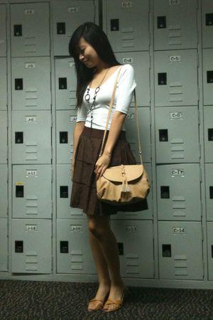 white Topshop blouse - brown Mphosis skirt - beige Mango purse - yellow Step Rit