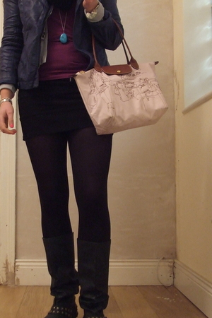 purple Primark jacket - black Dunnes boots - black Dunnes jeans - pink longchamp