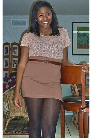 tan body con H&M skirt - brown stitching reflections boots - black sheer tights