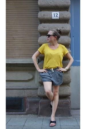 H&M shorts - H&M t-shirt - Birkenstock sandals - casio watch