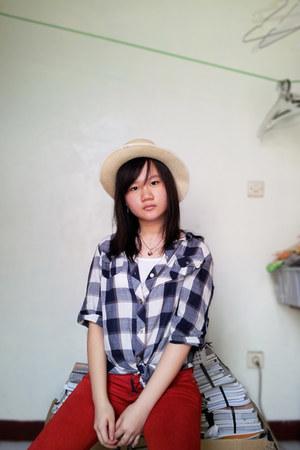 hat - blouse - top - pants