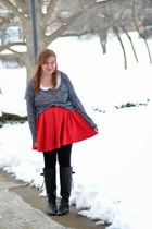 endlesscom boots - red modcloth dress - H&M sweater