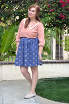 polka dot borrowed skirt - collared Forever 21 top - oxford PacSun flats