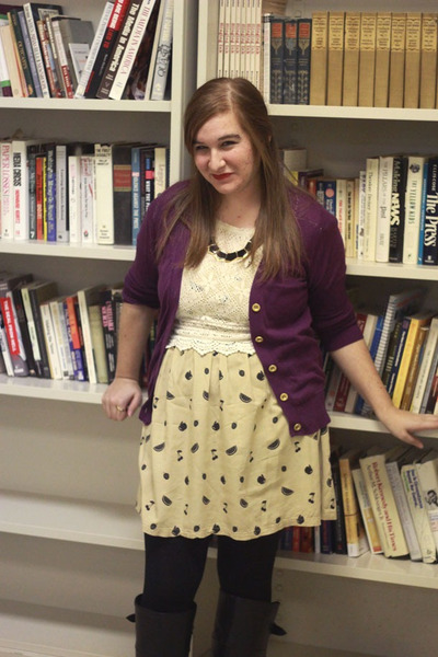 fruit print modcloth dress - purple madewell cardigan - crochet threadsence top