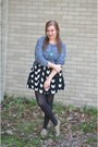 Cat-print-h-m-dress-h-m-sweater-modcloth-flats-handmade-necklace